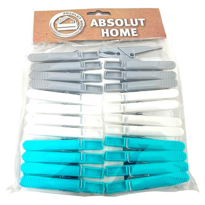 Прищепки 24шт Absolut Home серый, белый, синий xy0801