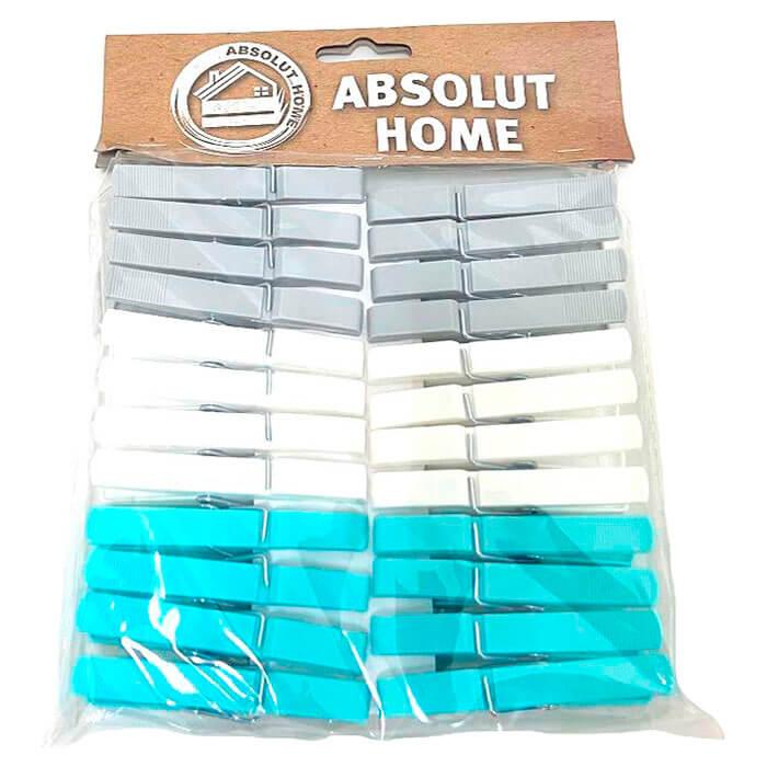 Прищепки 24шт Absolut Home серый, белый, синий xy0804