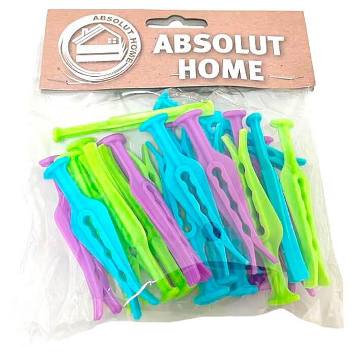Прищепки 24шт Absolut Home серый, фиолетовый, синий xy0812