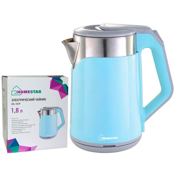 Чайник HomeStar hs-1019 1,8 л стальной голубой