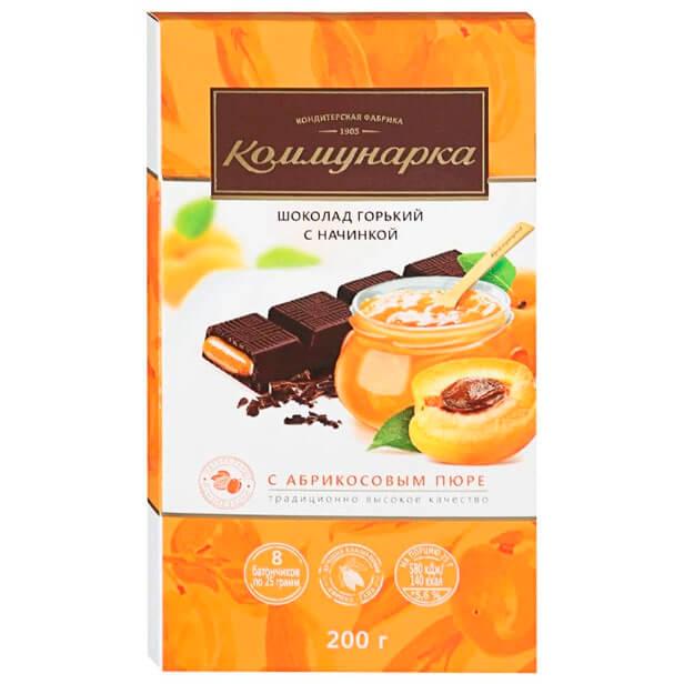 Шоколад Коммунарка 200г горький с абрикосовым пюре