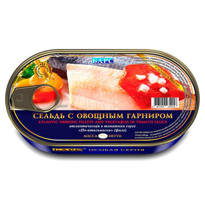 Сельдь Барс 175г с овощами по-итальянски ханса ж/б недорого