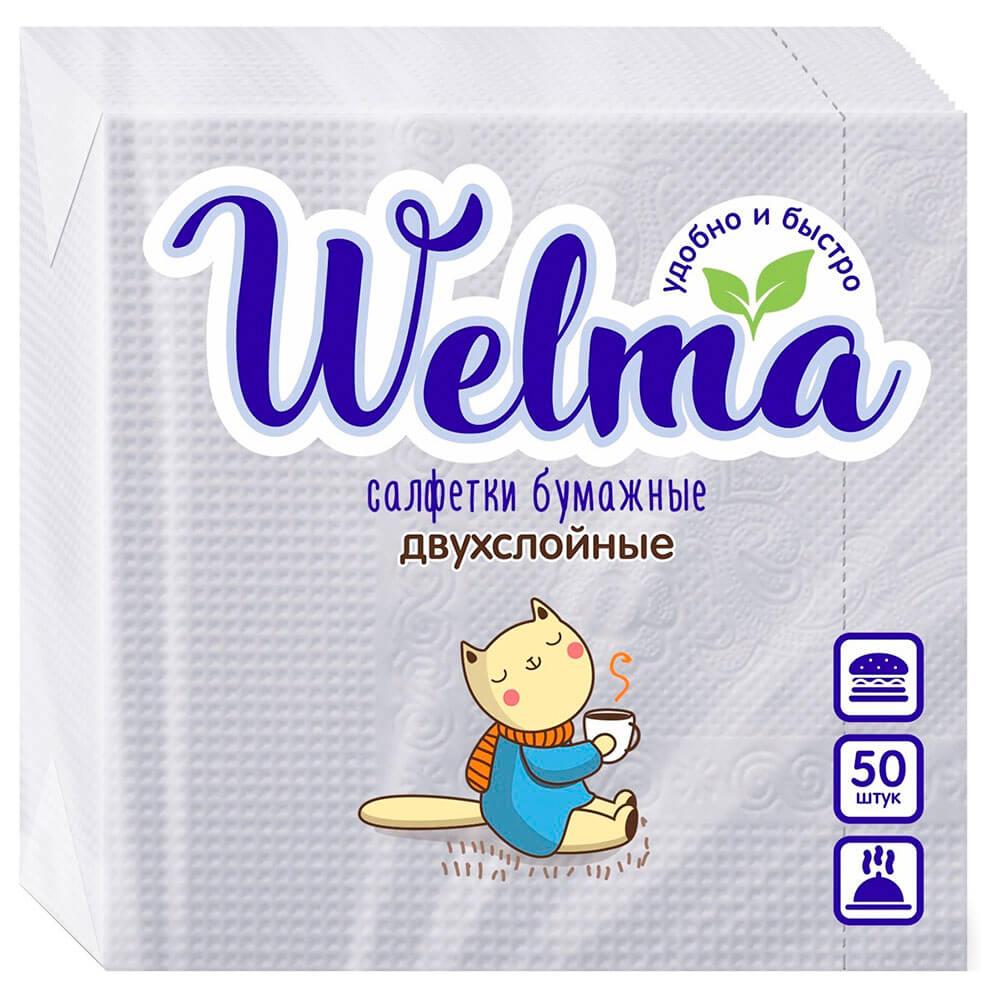 Салфетки бумажные Велма 50шт 24*24см 2 слоя белые