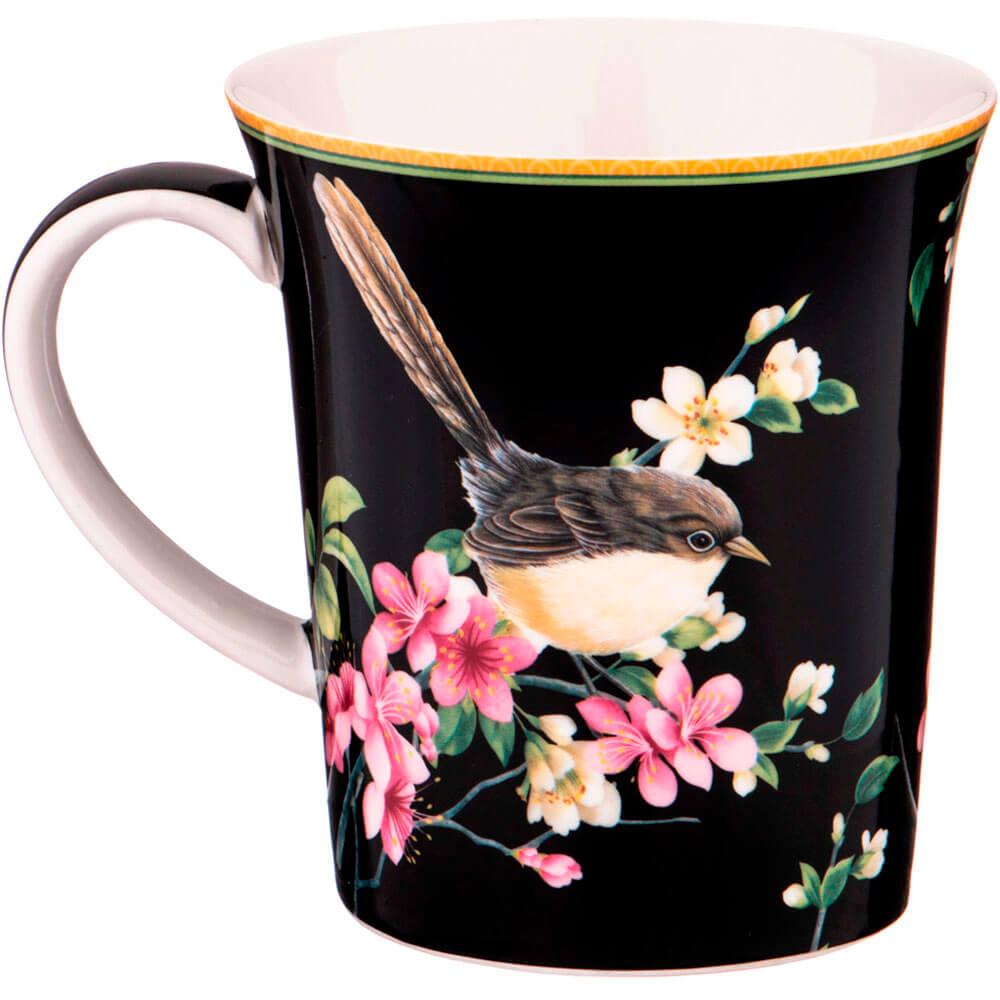 Кружка 420мл Lefard цветущий сад черная 104-547