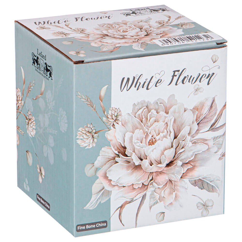 Кружка 420мл Lefard белые цветы голубая 415-2123