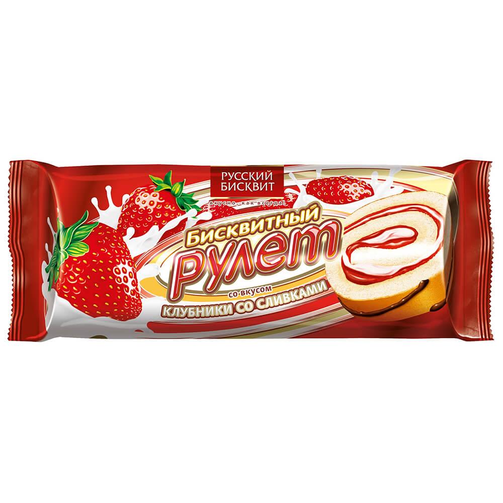 Рулет Русский бисквит 175г клубника со сливками