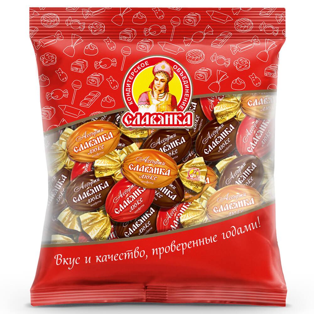 Конфеты ассорти Славянка люкс 200г пакет Славянка конфеты славянка фарс шоколадная нуга с желе и шариками пакет 1 кг
