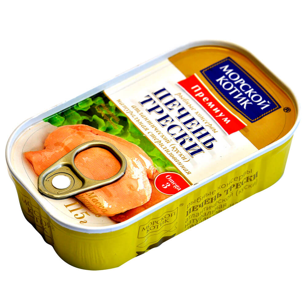 Печень трески Морской котик 115г натуральная в/с ж/б