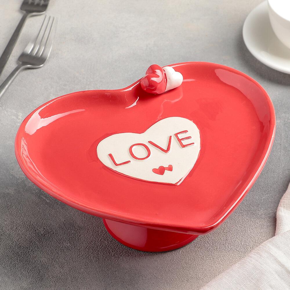 Блюдо для пироженых 22*20*11см дарите счастье Сердца 4476294