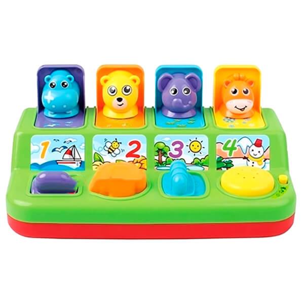 Центр игровой 4 вида животных гиппопотам/медвежонок/слонёнок/жираф звук/свет 30*16,5 zy1133089