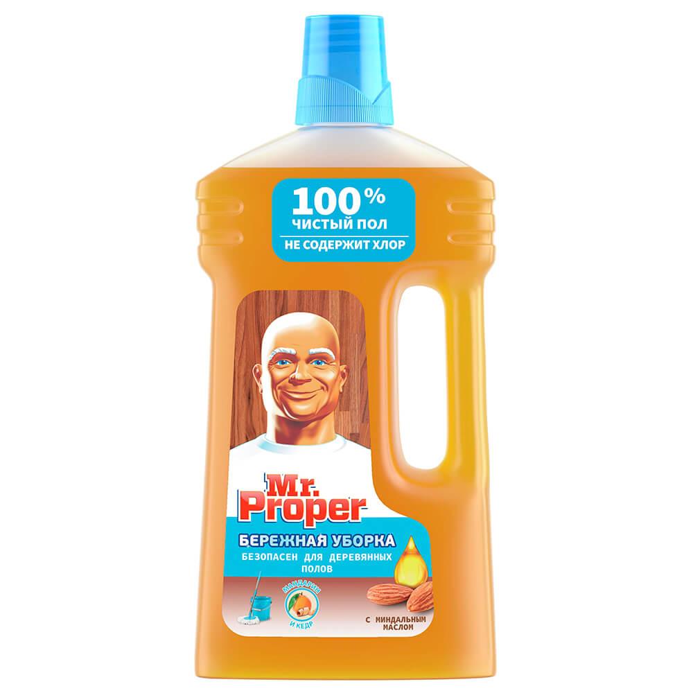 Жидкость для уборки дома Mr. Proper 1л для деревянных полов с миндальным маслом чистящее средство mr proper бережная уборка для деревянных полов 1 л
