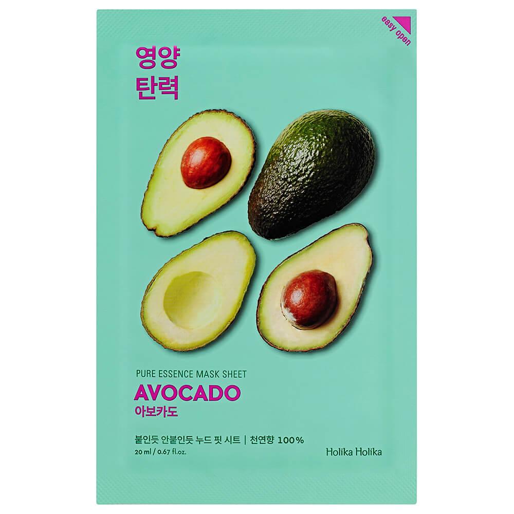 Маска для лица Holika 20мл пьюр эссенс тканевая смягчающая с экстрактом авокадо