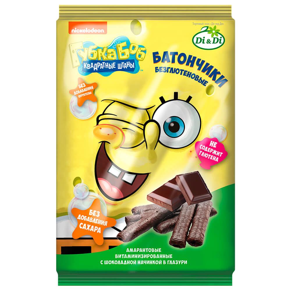 Батончики безглютеновые Губка Боб с шоколадной начинкой витаминизированные 110г