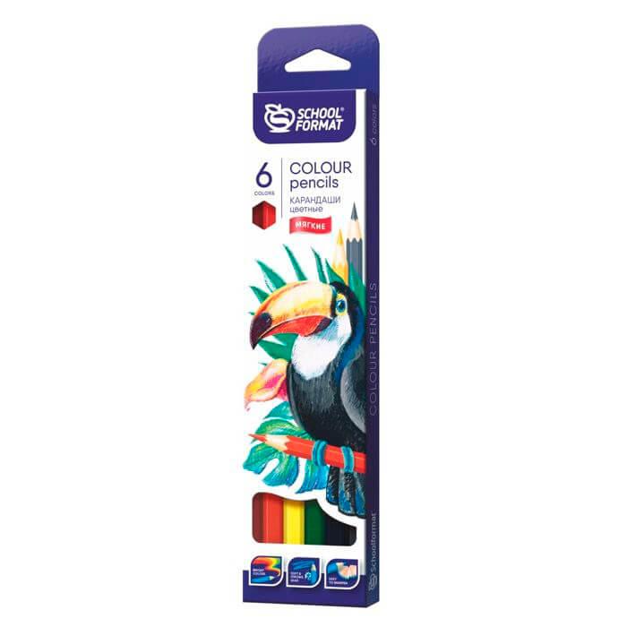 Набор цветных карандашей schoolФОРМАТ 6цв энималс шестигранные кц06-тж