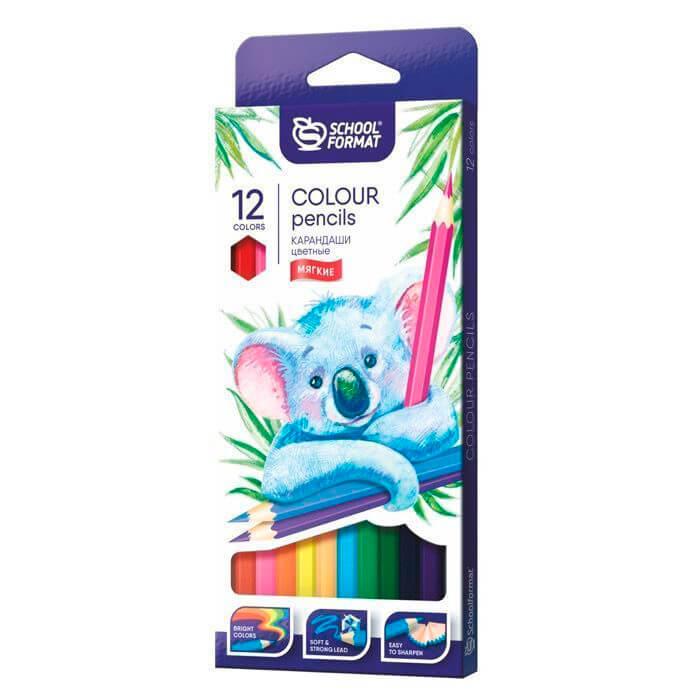 Набор цветных карандашей schoolФОРМАТ 12цв энималс шестигранные кц12-тж