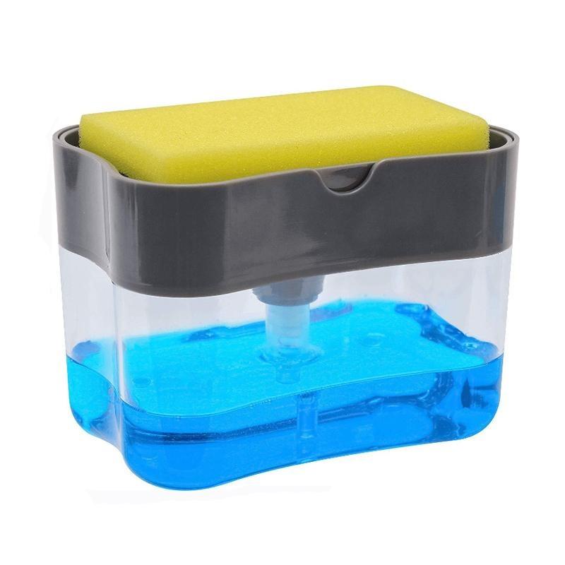 Диспенсер для моющего средства с губкой серый