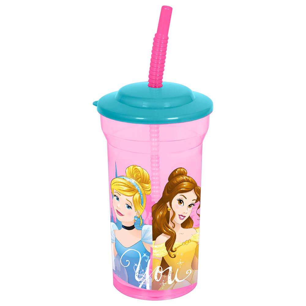 Стакан 460мл с соломинкой и крышкой Disney принцессы дружные приключения пластик