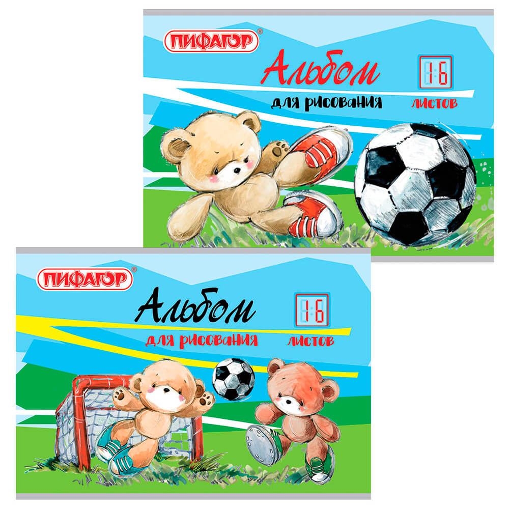 Альбом для рисования пифагор 16л а4 футболисты 2 вида 105045 105045