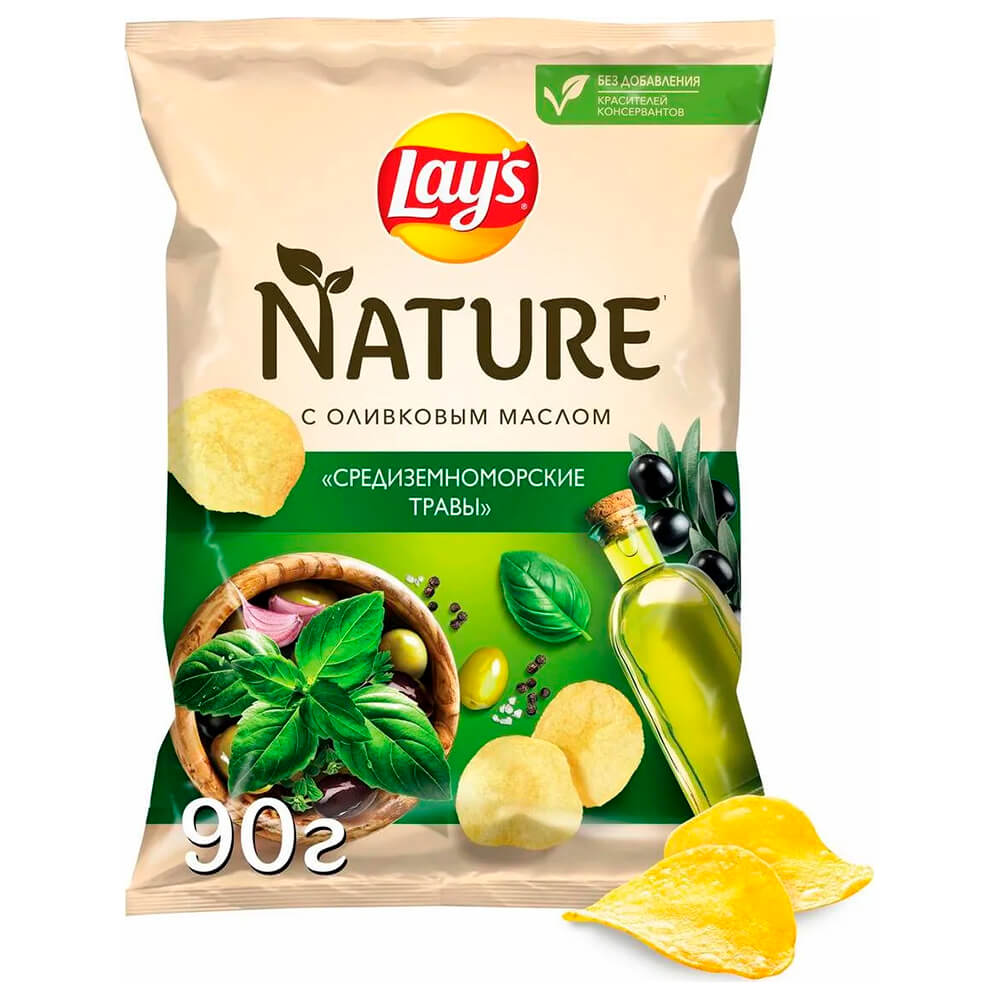Фото - Чипсы Lay's Nature 90г средиземноморские травы чипсы lays вкус васаби и авокадо 90г