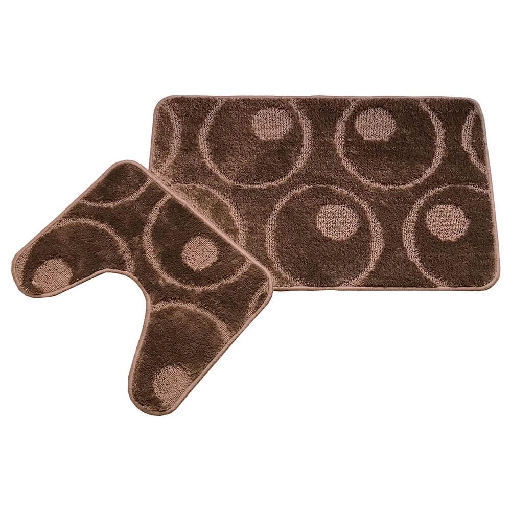 Набор ковриков для ванной Cleopatra 50*80+50*40см фремонт круги коричневый