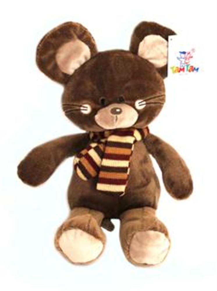 Игрушка мягкая мышонок в шарфике 22см коричневый с1813622