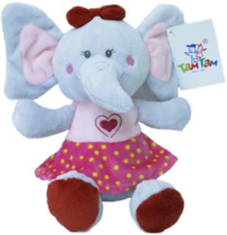 Игрушка мягкая слоненок 18см девочка в платье розовый s1707718