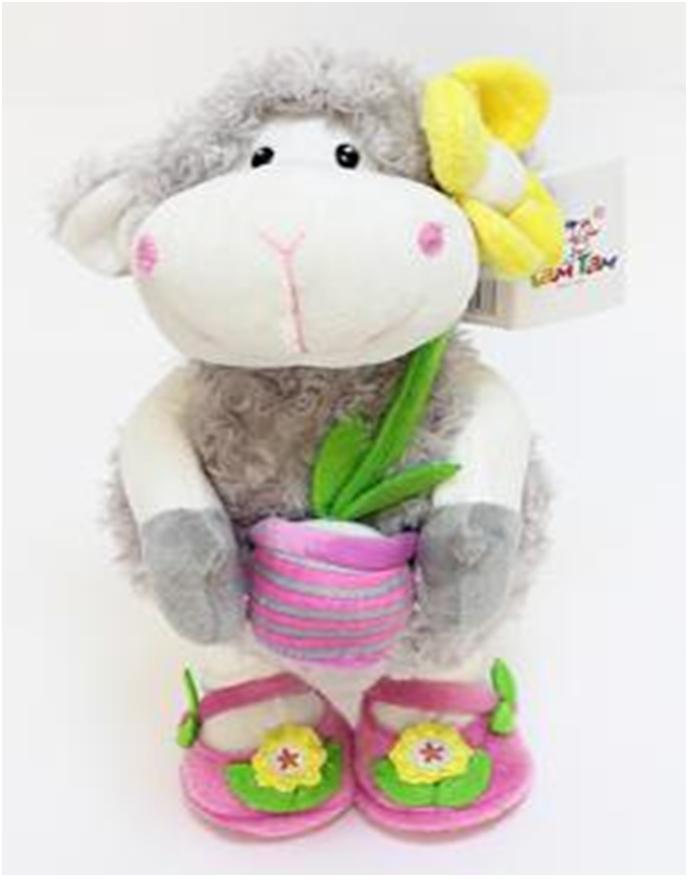Игрушка мягкая овечка с цветком музыкальная 012sbx510