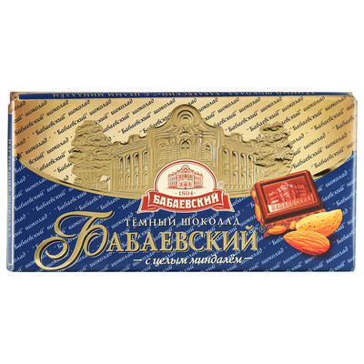 Шоколад Бабаевский 100г 55% темный с целым миндалем