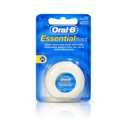 Зубная нить Oral-B эссенсиал 50м вощеная мятная