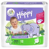 Подгузники Bella Baby Happy 12шт 8-18кг уни макси