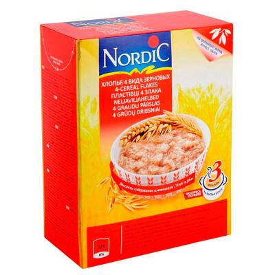 Хлопья NordiC 600г 4 вида зерновых