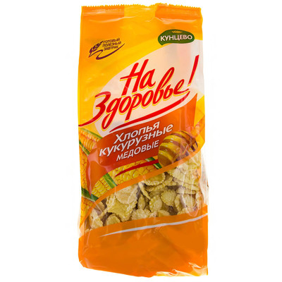Хлопья Кунцево 350г кукурузные медовые пакет
