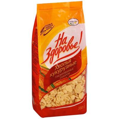 Хлопья Кунцево 350г кукурузные глазированные сахаром пакет
