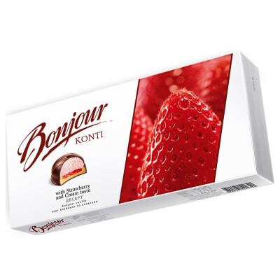 Десерт Bonjour 232г клубника со сливками Konti