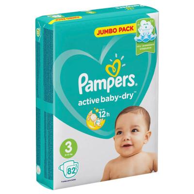 Подгузники Pampers Active Baby 82шт Midi 6-10кг джамбо 3