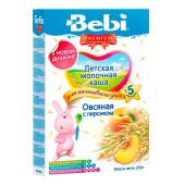 Каша Bebi премиум 250г молочная для активного дня овсяная с персиком с 5 месяцев