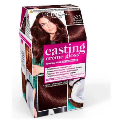 "L'Oreal Paris Стойкая краска-уход для волос ""Casting Creme Gloss"" без аммиака, оттенок 323, Черный ш"