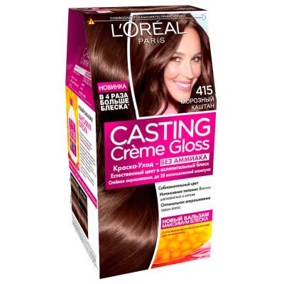 "L'Oreal Paris Стойкая краска-уход для волос ""Casting Creme Gloss"" без аммиака, оттенок 415, Морозный"