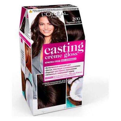 "L'Oreal Paris Стойкая краска-уход для волос ""Casting Creme Gloss"" без аммиака, оттенок 200, Черное д"