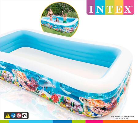 Бассейн Intex 305*183*56см семейный тропический риф 58485