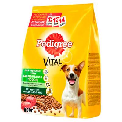 Корм для собак Pedigree 600г для взрослых собак маленьких пород с говядиной