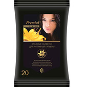Салфетки влажные PREMIAL 20шт для интимной гигиены экстракт лилии