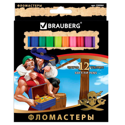 Фломастеры 12цв BRAUBERG корсары 150564