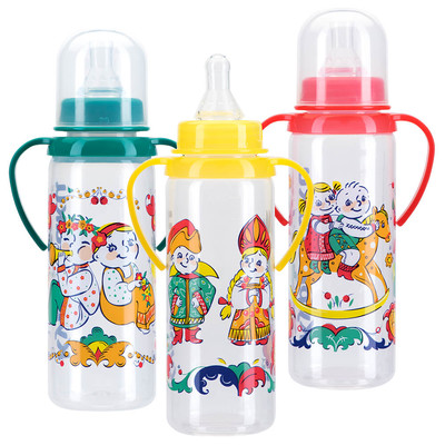Бутылочка Курносики 250мл 6+ с ручками и силиконовой соской мои первые друзья