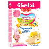 Каша Bebi премиум 200г молочная для полдника пшеничная  печенье с грушами с 6 месяцев