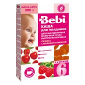 Каша Bebi 200г молочнаядля полдника пшеничная печенье с малиной и вишней с 6 месяцев