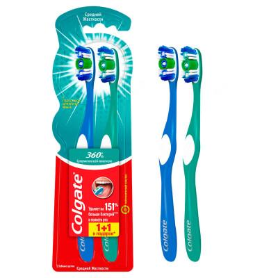 Промо зубная щетка Colgate 360 суперчистота средняя 1+1