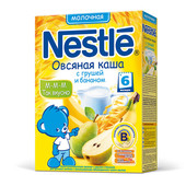 Каша Nestle 220г молочная овсяная с грушей и бананом с 6 месяцев