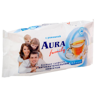 Салфетки влажные Aura 63шт для всей семьи ромашка