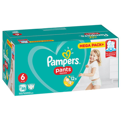 Трусики-подгузники Pampers Pants 88шт Extra Large16+кг 6 мега